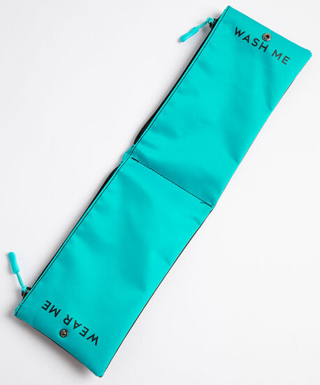 Face Mask Foldover Storage Pouch, Black/Turquoise, hi-res