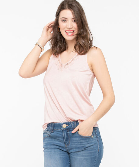 Sleeveless Lace Trim V-Neck Top, Rose Petal, hi-res