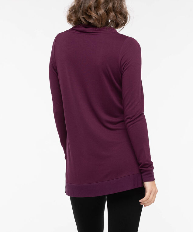 Lace-Up Funnel Neck Tunic, Berry, hi-res