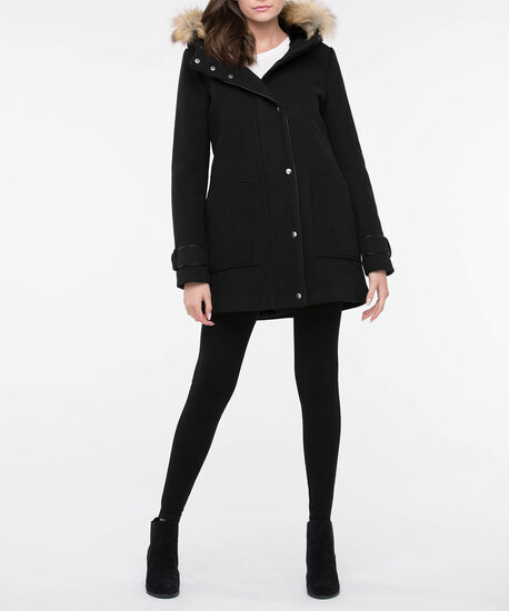 Hooded Black Patch Pocket Coat, Black, hi-res