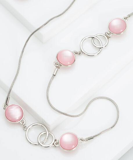 Cateye & Stationed Ring Necklace, Rhodium/Soft Pink, hi-res