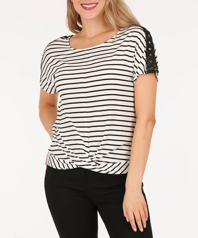 Twist Front Crochet Trim Top, Black/White, hi-res