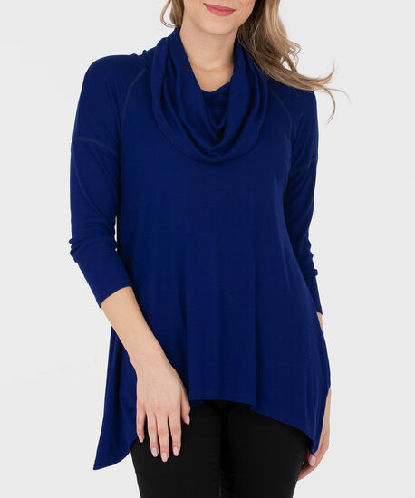 Slouchy Cowl Neck Pullover, Deep Sapphire, hi-res