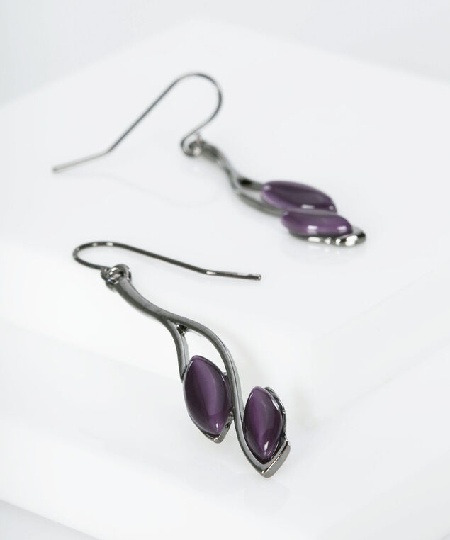 Double Leaf Stone Earring, Hematite/Deep Purple, hi-res