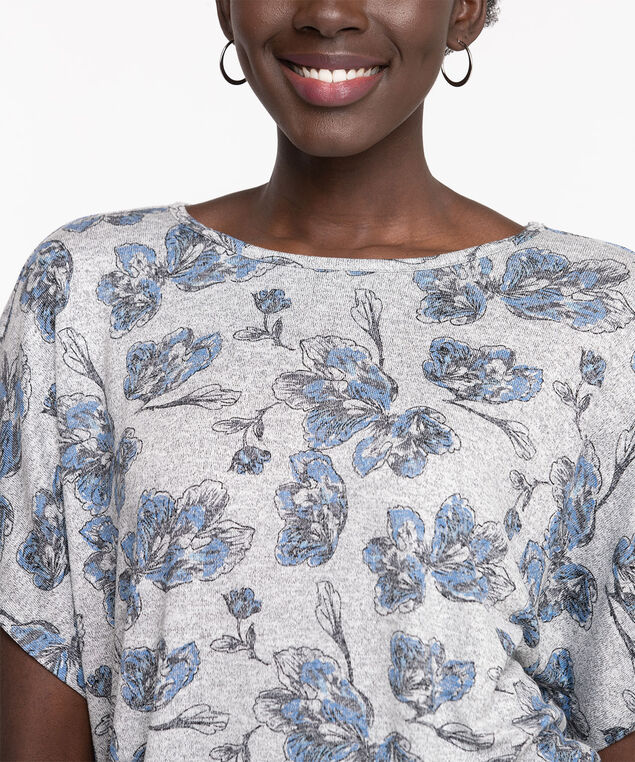 Extended Sleeve Banded Bottom Top, Grey/Blue Floral