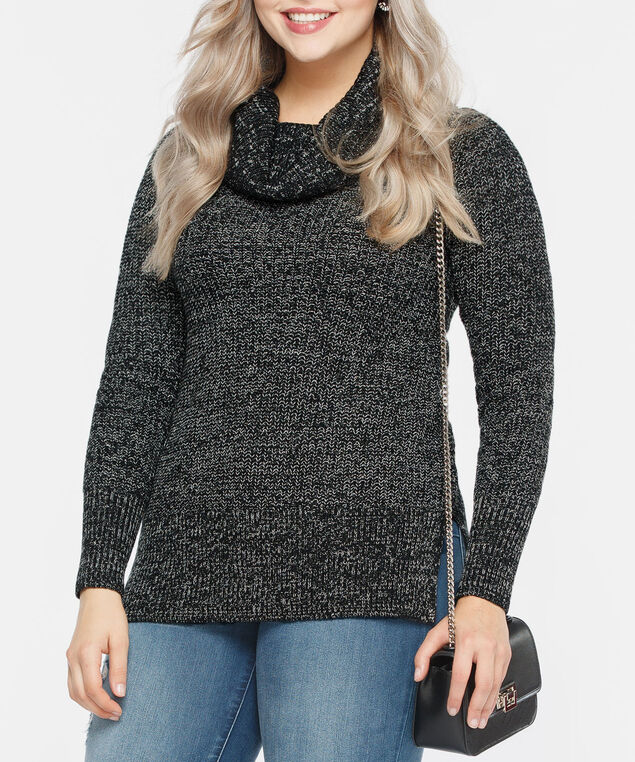 Cowl Neck Mixed Yarn Sweater, Black/Pearl Mix, hi-res