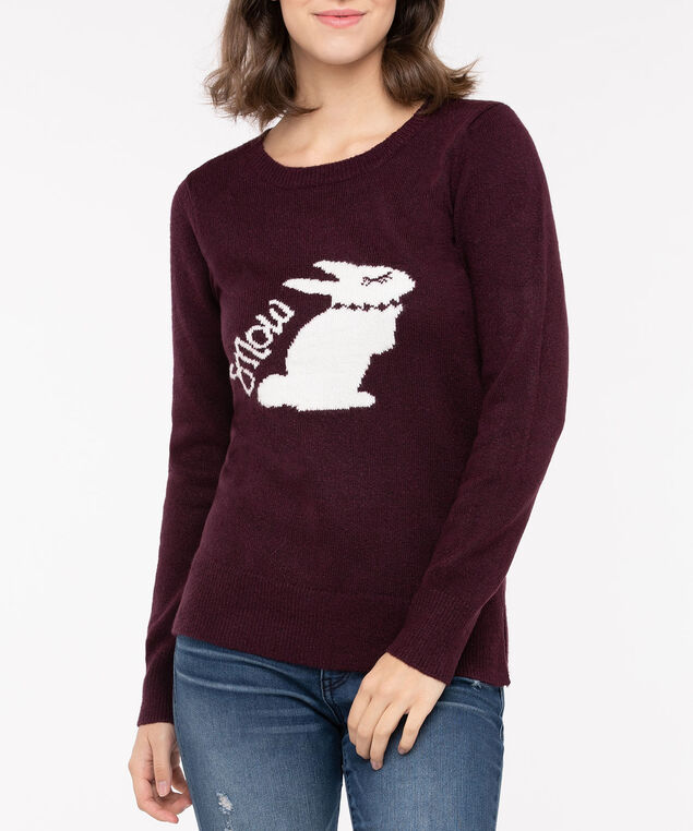 Snowbunny Pullover Sweater, Berry/Pearl, hi-res