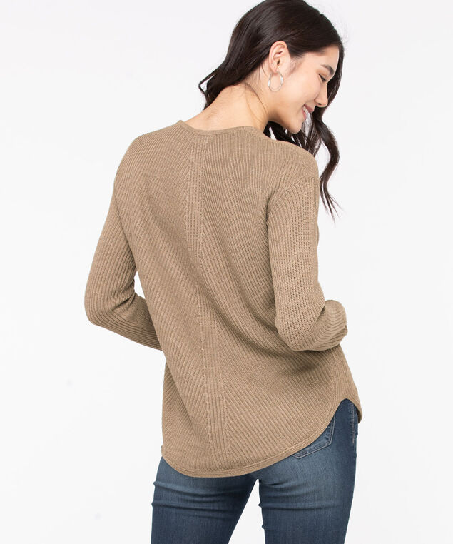 Ribbed Scoop Neck Sweater, Taupe Grey
