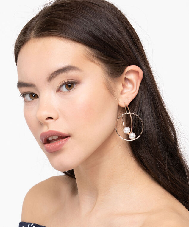 Intertwined Pearl Hoop Earring, Pearl/Rose Gold, hi-res
