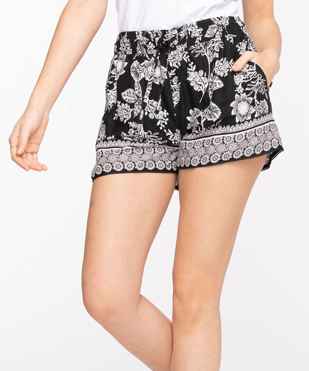 Tie Waist Patterned Crinkle Short, Black/Pearl