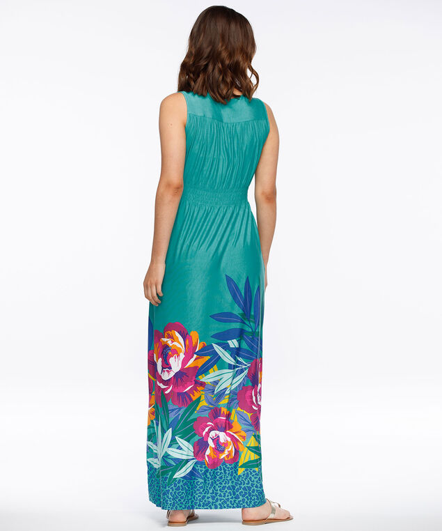 Braided Waist Sleeveless Maxi Dress, Aqua/Hot Pink/Purple, hi-res