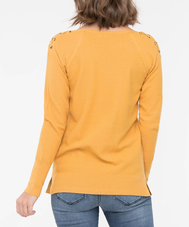 Lace Up Shoulder Boatneck Sweater, Marigold, hi-res
