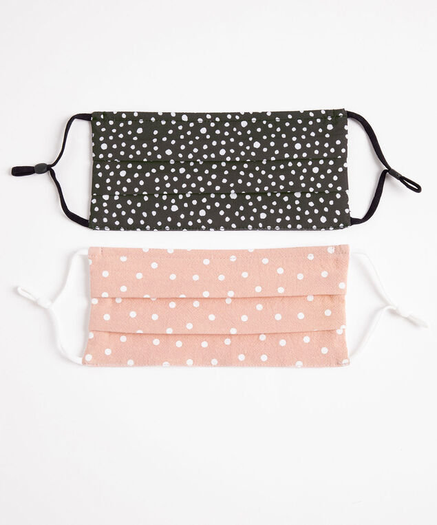 Cotton Face Mask 2-Pack, Black Dot/Pink Dot