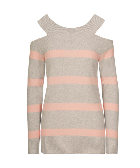 Cold Shoulder Pullover Sweater, Peach Sorbet/Light Grey, hi-res