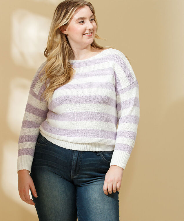 Stripe Slub Knit Pullover Sweater, Orchid Petal/Whisper White