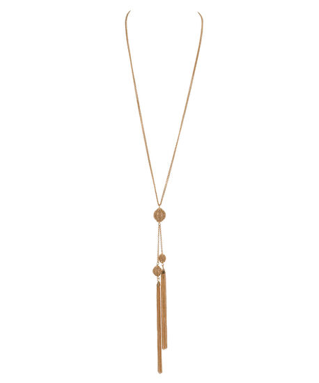 Chain-Wrapped Ball Tassel Y-Necklace, Soft Gold, hi-res