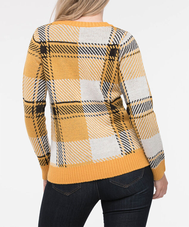 Plaid Pullover Sweater, Marigold/Black/Pearl, hi-res