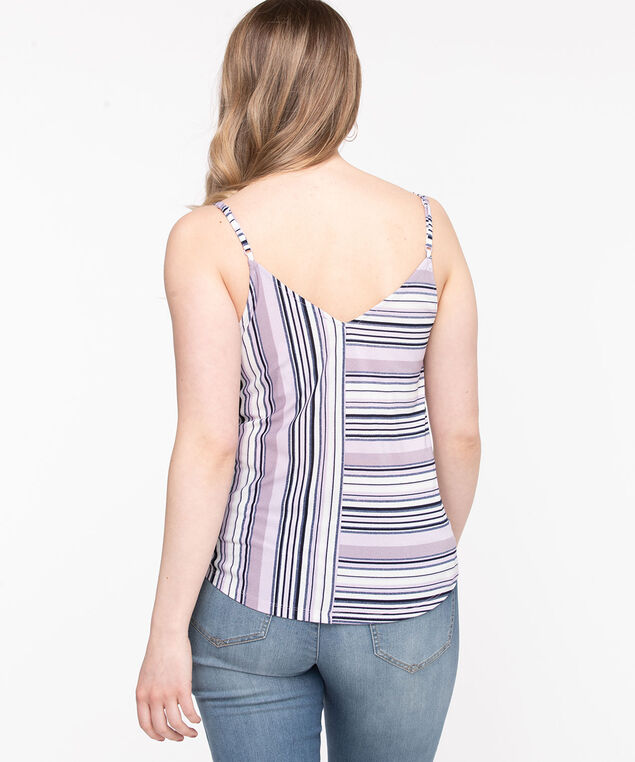 Sleeveless Double-V Button Top, Orchid Petal Stripe