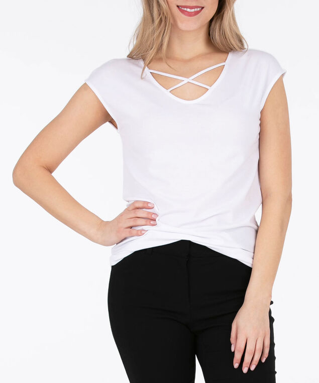 Cross Front Extended Sleeve Top, Cream, hi-res