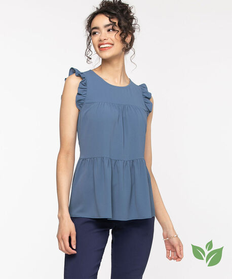 Eco-Friendly Tiered Ruffle Blouse, Chambray Blue, hi-res