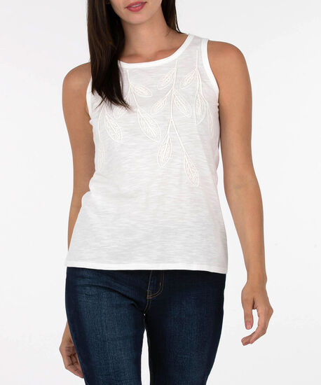 Sleeveless Embroidered Knit Top, Ivory, hi-res