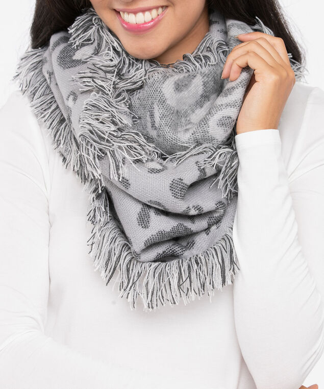 Leopard Print Eternity Scarf, Grey/Mid Heathered Charcoal, hi-res