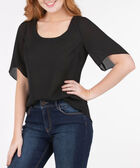 Scoop Neck 3/4 Sleeve Blouse, Black, hi-res