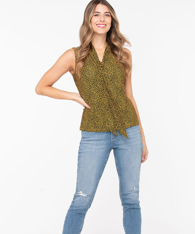 Sleeveless Neck Tie Top, Black/Harvest Yellow, hi-res