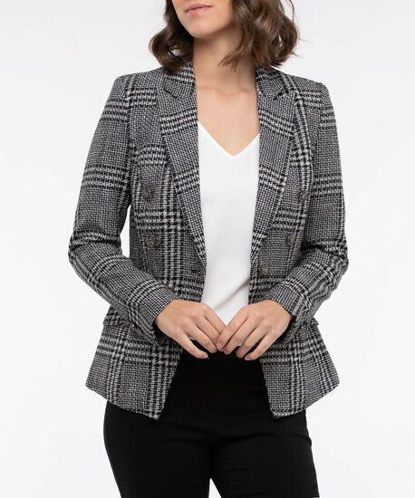 Woven Plaid Double Breasted Blazer, Black/Pearl, hi-res
