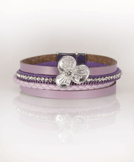 Flora & Faux Leather Wrap Bracelet, Iced Violet, hi-res