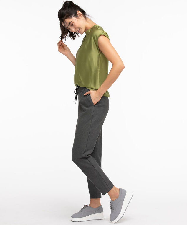 Black Luxe Ponte Tapered Drawstring Pant, Charcoal
