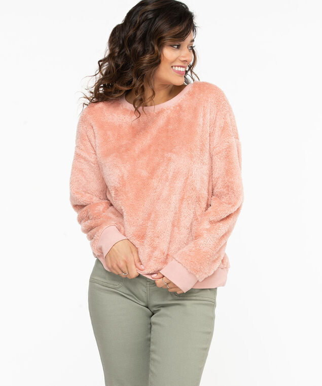 Cozy Sherpa Pullover Sweatshirt, Misty Rose