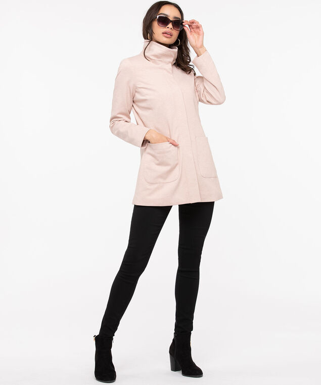 Ponte Funnel Neck Jacket, Rose Petal, hi-res
