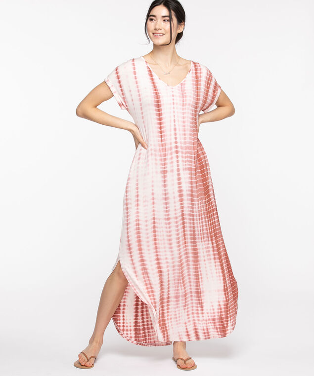 Pocketed T-Shirt Maxi Dress, Dusty Rose Tie-Dye
