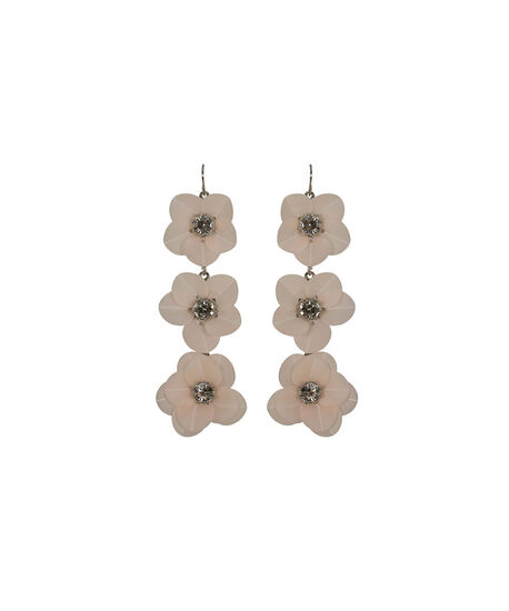 Stacked Flower Drop Earring, Pastel Pink/Rhodium, hi-res