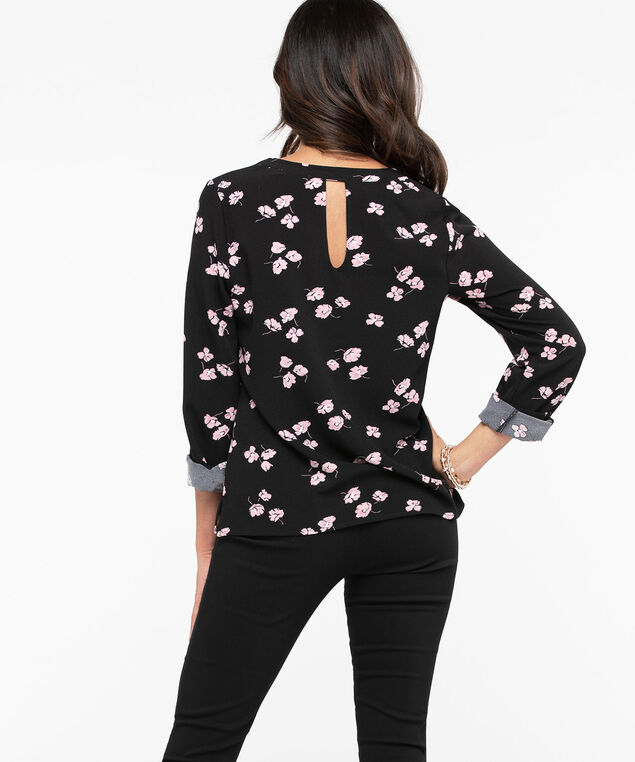 Long Sleeve V-Neck Blouse, Black/Blush, hi-res