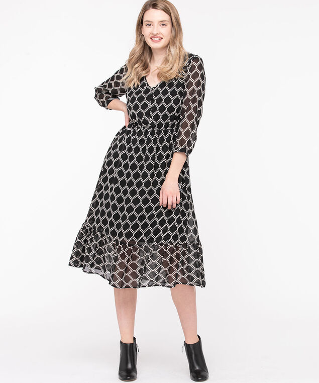Button V-Neck Midi Dress, Black/Ivory, hi-res