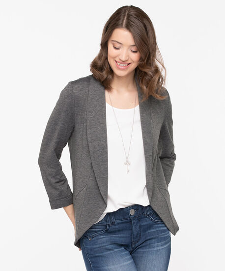 Shawl Collar Knit Cover Up, Slate, hi-res