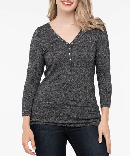 Stud Detail Henley Knit Top, Black, hi-res