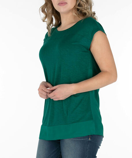 Extended Sleeve Woven Trim Top, Emerald, hi-res