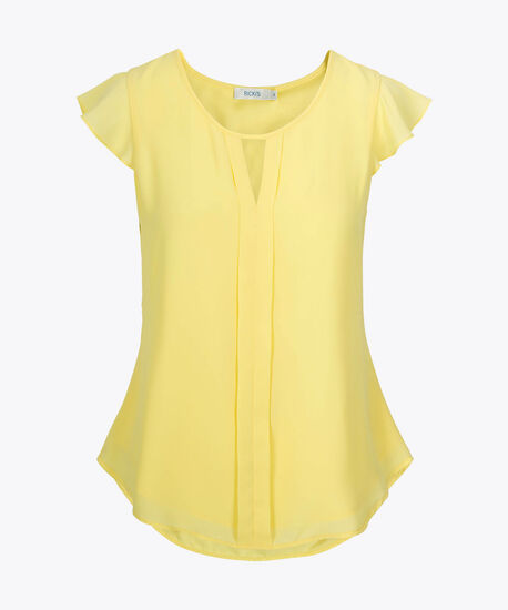 Flutter Sleeve Blouse, Yellow, hi-res