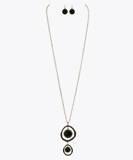Double Stone & O-Ring Necklace Set, Black/Rhodium, hi-res
