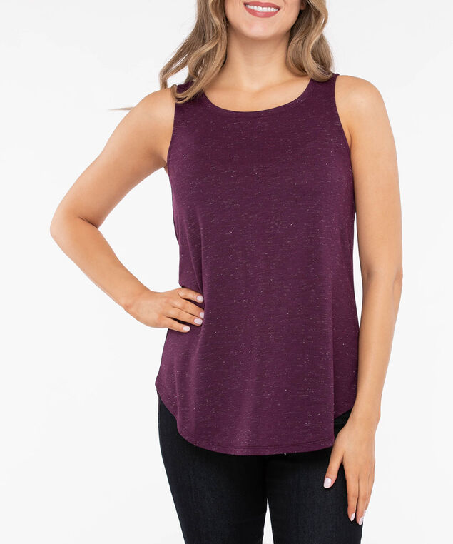 Lurex Sleeveless Scoop Neck Top, Berry, hi-res