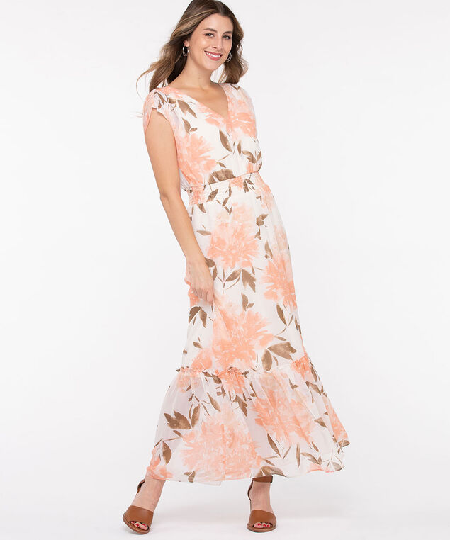 Tiered V-Neck Maxi Dress, Ivory/Peach/Sage, hi-res
