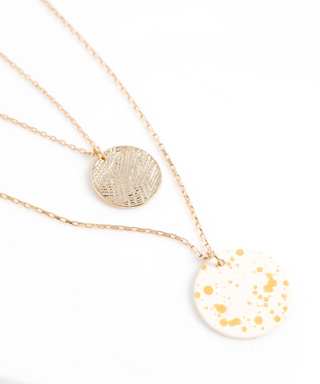 Double Pendant Layer Necklace, Gold
