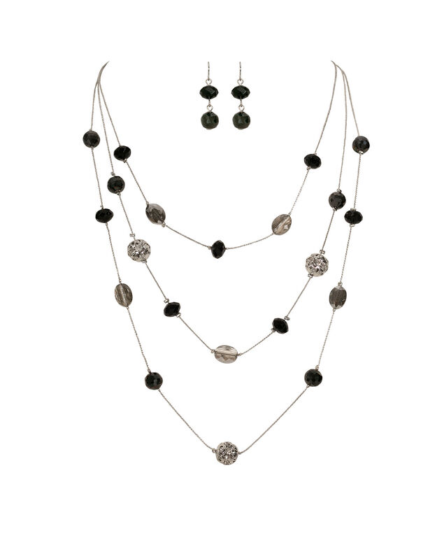 Stationed Bead & Fireball Necklace Set, Black/Grey/Clear/Rhodium, hi-res