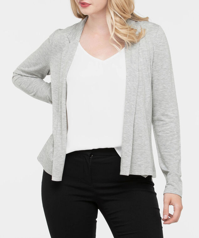 Long Sleeve Crop Cardigan, Grey, hi-res