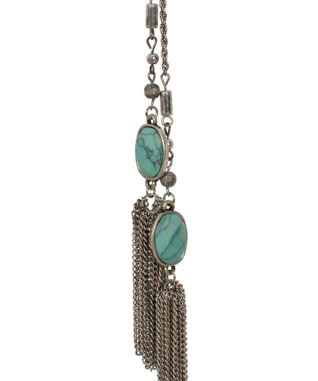 Knotted Tassel Pendant Necklace, Turquoise/Burnished Silver, hi-res