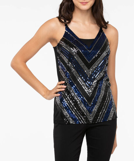 Sleeveless Sequin Front Top, Deep Sapphire/Black, hi-res