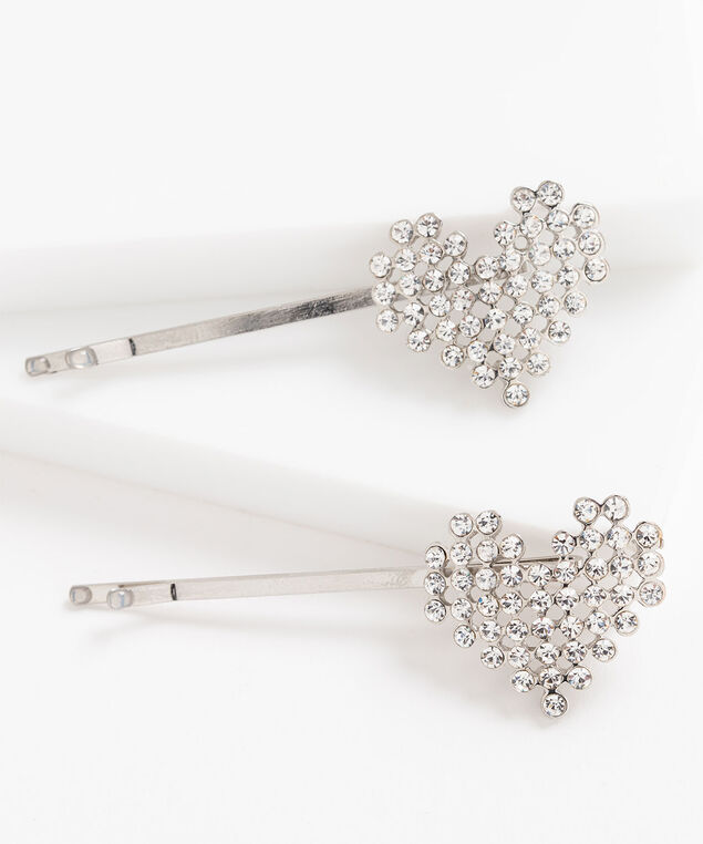 Crystal Heart Bobby Pin Set, Silver